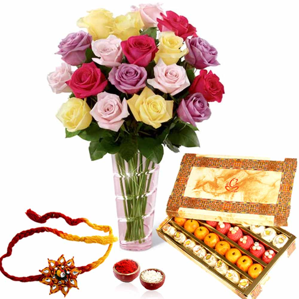Rakhi Flower Hampers-Rakhi with Mix Sweet and Roses