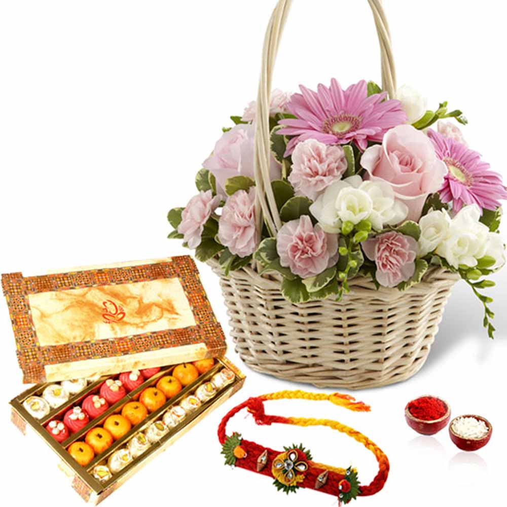 Rakhi Flower Hampers-Beautiful Flowers Basket with Mix Sweet Box and Rakhi
