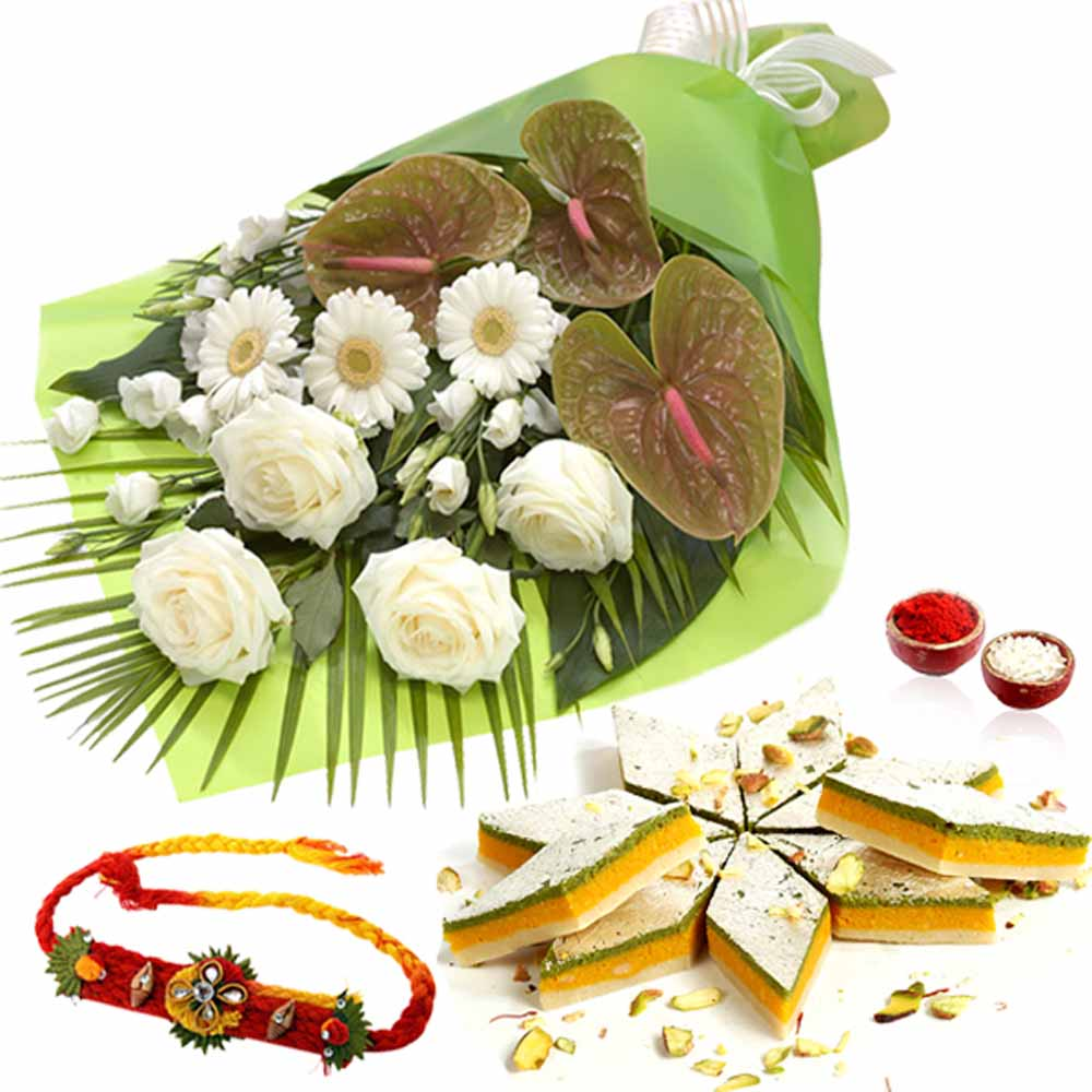 White Flowers Bouquet and Taranga Kaju Katli Box and Rakhi