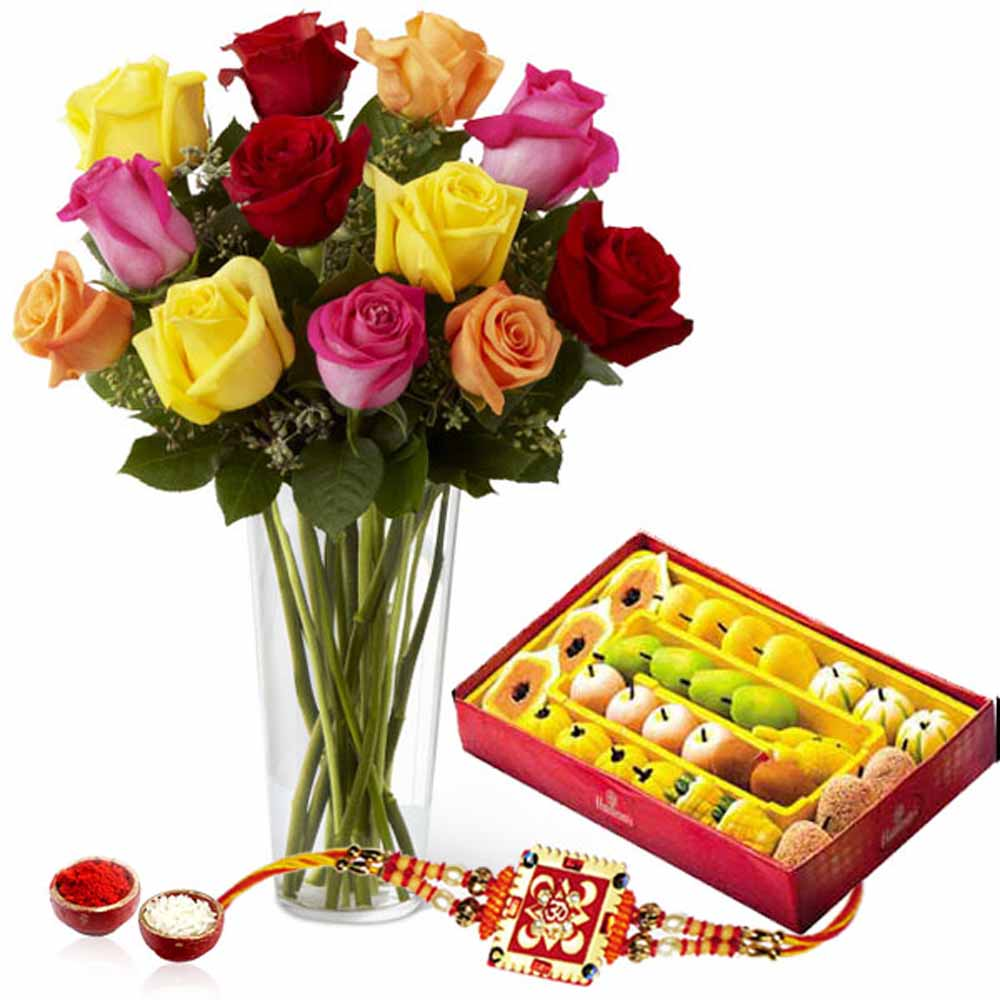 Roses Arrangement with Sweets and Rakhi