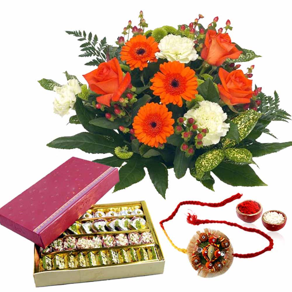 Assorted Sweets with Rakhi and Flowers Bouquet