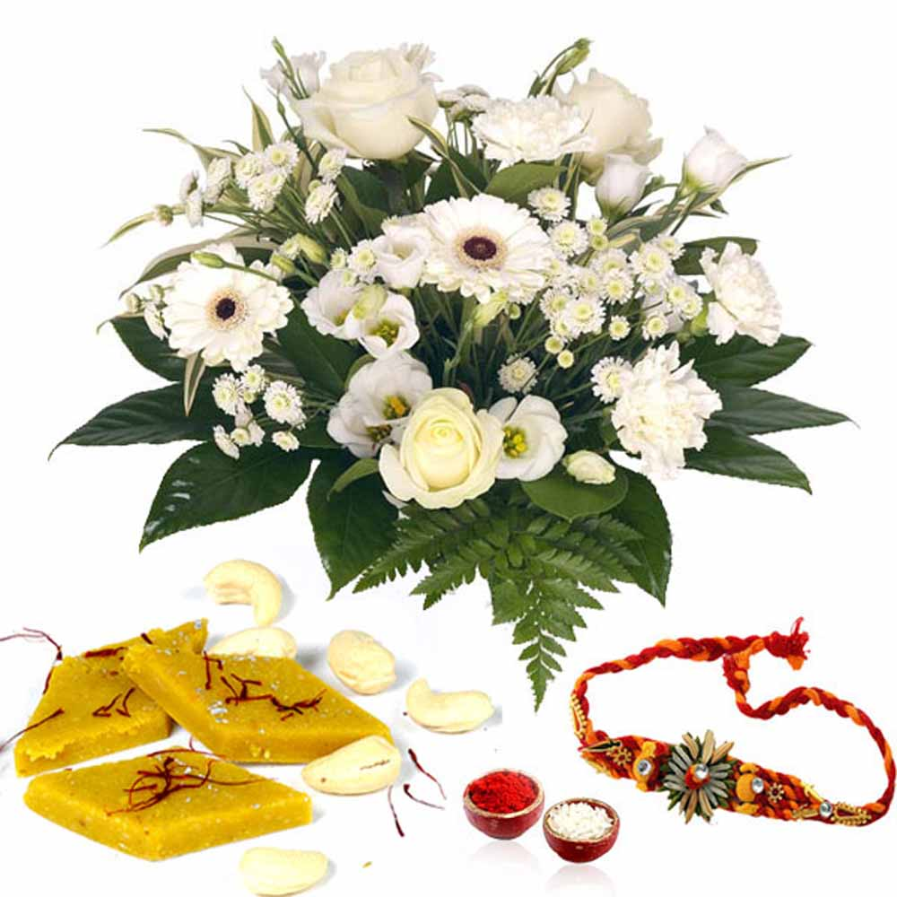 Cesar Kaju Katli with White Flowers and Rakhi
