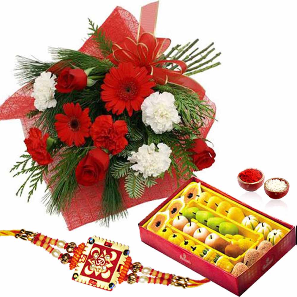 Red and White Flowers with Rakhi and Sweets