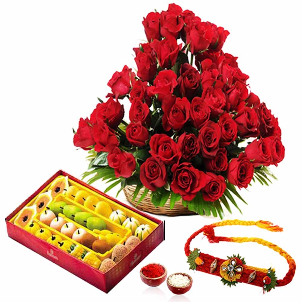 Sweets with Rakhi and Roses Arrangement