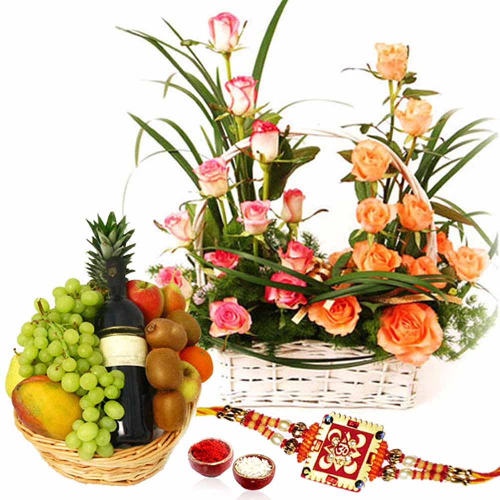 Designer Roses Arrangement with Fruits Wine and Rakhi
