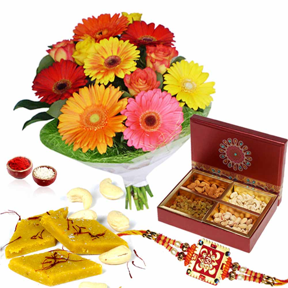 Rakhi Flower Hampers-Dry Fruits and Sweets with Rakhi and Flowers