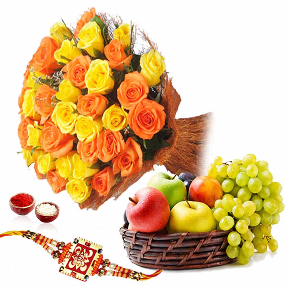 Roses Bouquet and Fruits with Rakhi