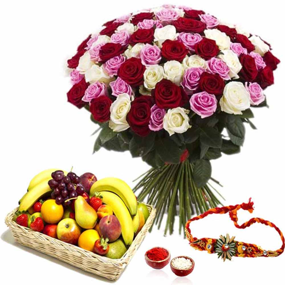 Roses with Fruits and Rakhi