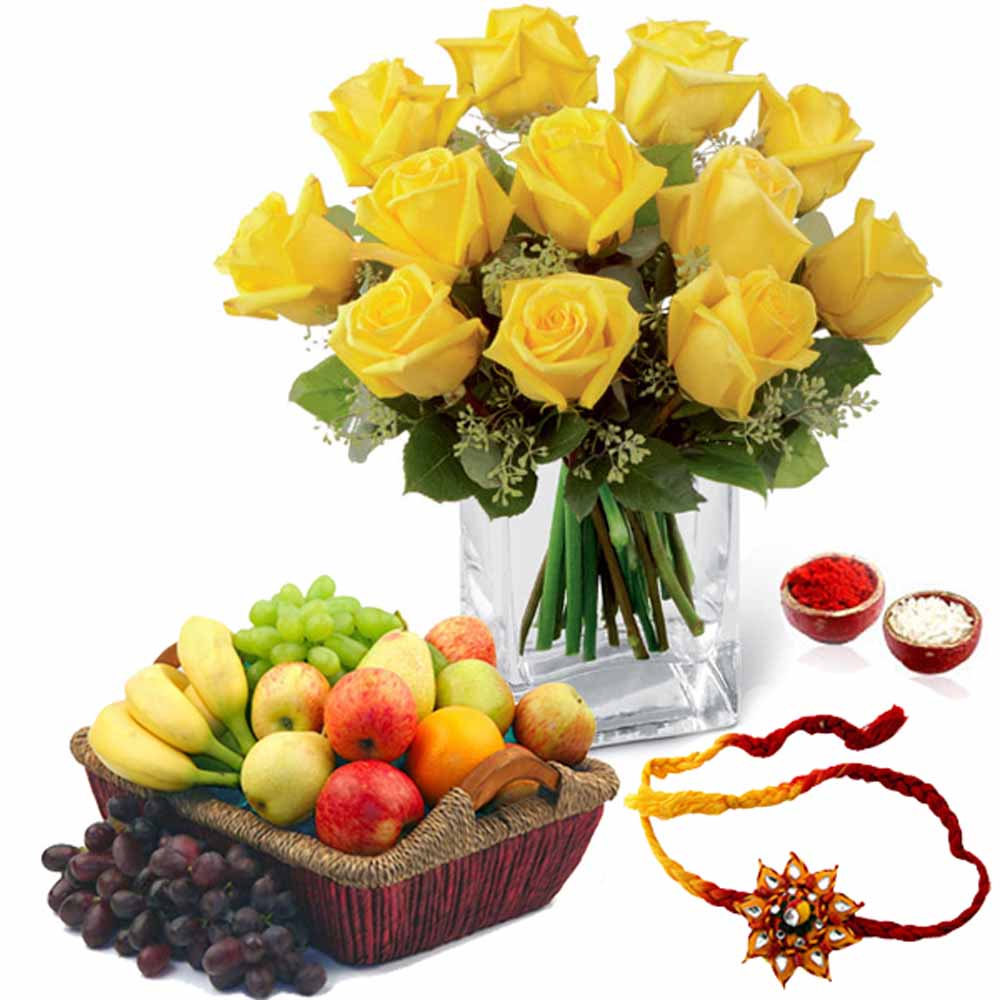 Yellow Roses Arrangement with Mix Fruits and Rakhi