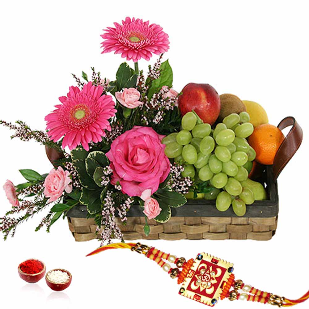 Flowers and Fruits in Basket with Rakhi