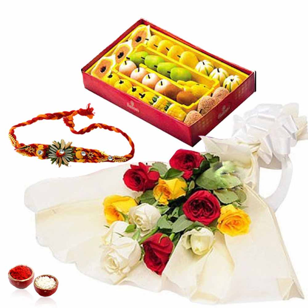 Rakhi Flower Hampers-Mix Roses with Assorted Sweets and Rakhi