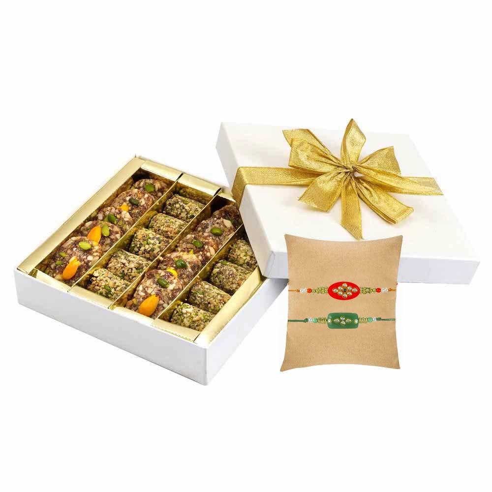 Sugar free Khajur N Walnut pak+ Set of 2 Kundan Rakhi