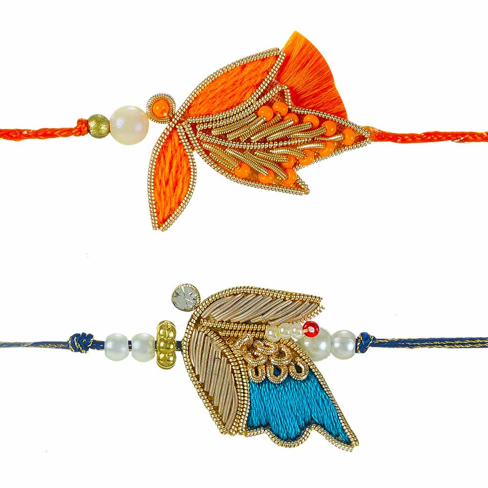 Royal Rakhi Collection-Zardozi Rakhi Set of 2