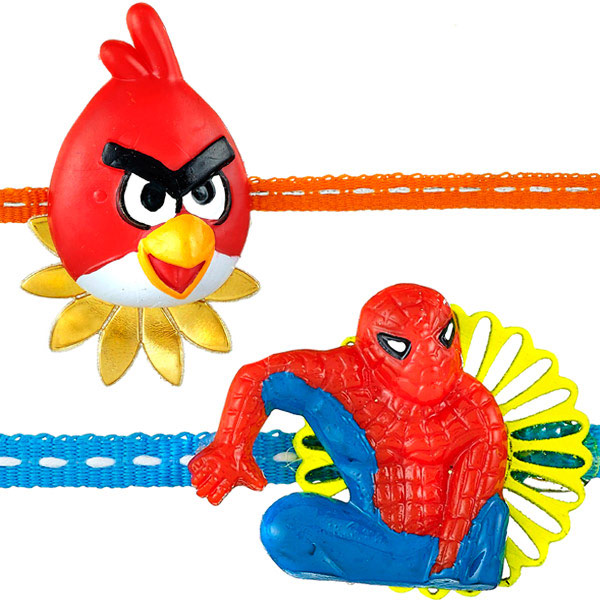 Angry Bird rakhi and Spiderman rakhi