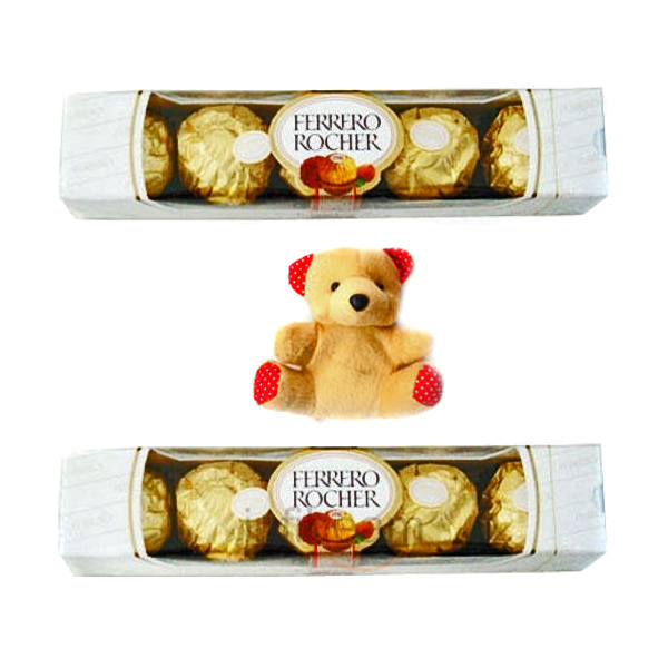 Stuffed Toys Gift Hampers-10 pieces of Ferrero Rocher Chocolates with Teddy
