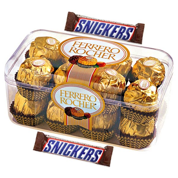 Ferrero Rocher and Snickers with Teddy