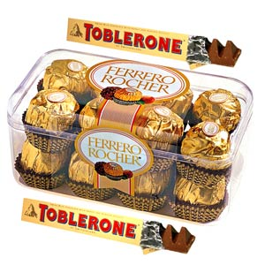 Imported Brands-Ferrero Rocher and Toblerone with Teddy