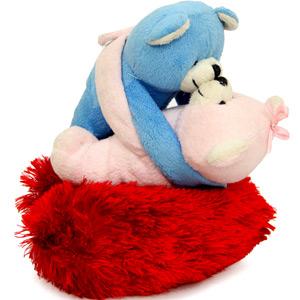 Hug Teddy N Heart Cushion