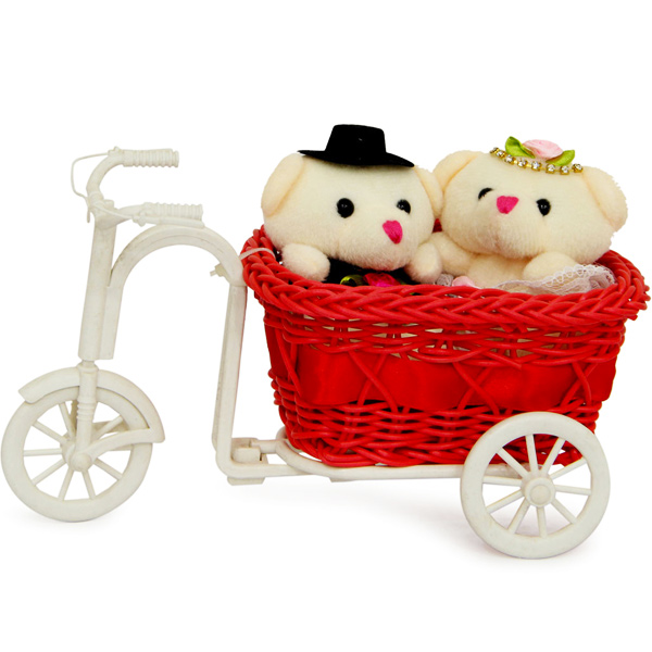 Stuffed Teddy Bear-Couple Teddy On Tricycle