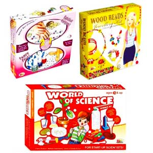 Ekta Wood Bead Jewelry Junior, World Science & Fancy Feet - Combo of 3 Games