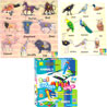 Birds and Animals Wooden Puzzle and Ekta Color & Wipe Combo - Set of 3
