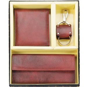 Leather Gents wallet, Ladies Purse and Keychain Gift Set.
