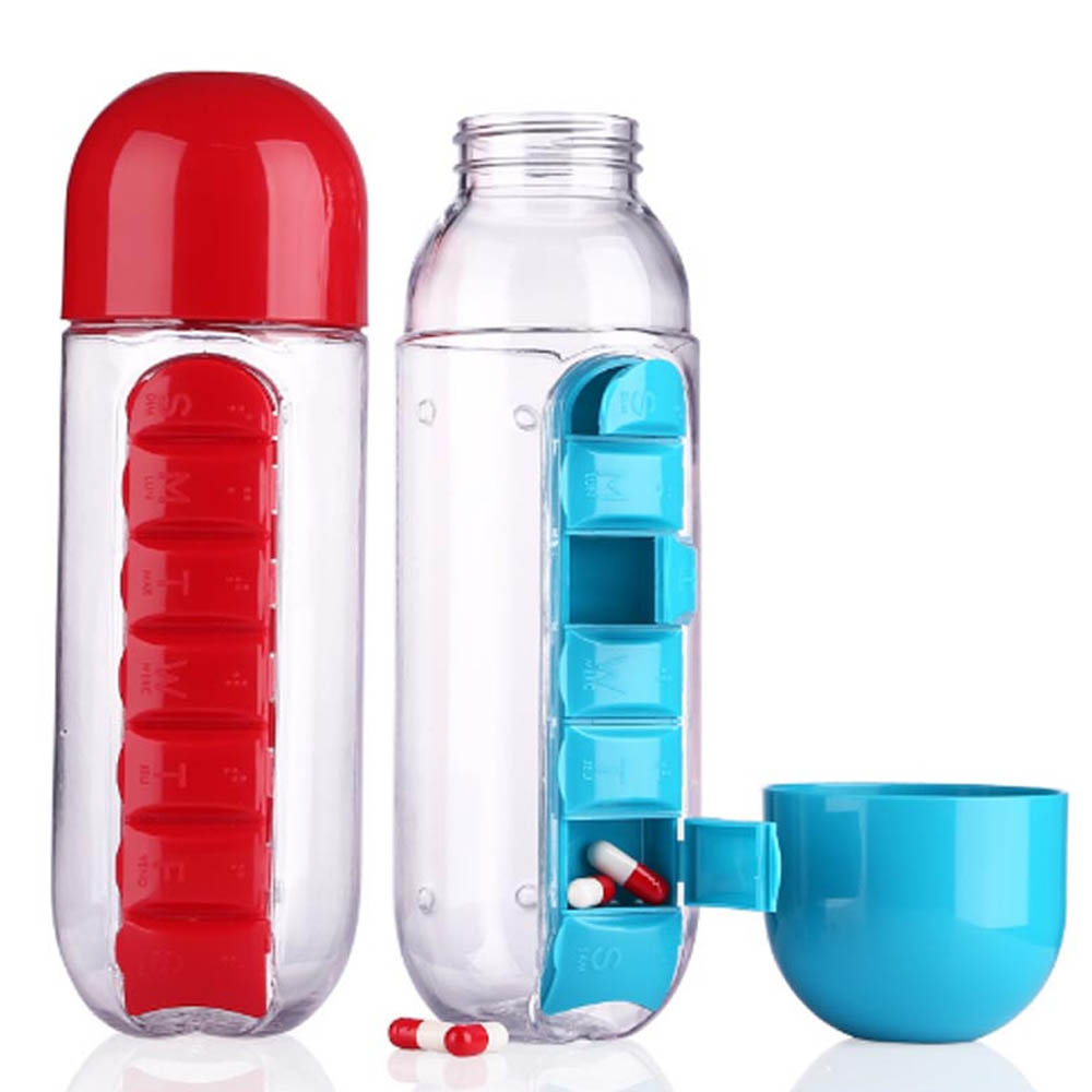 Pill Box Organizer with Water Bottle