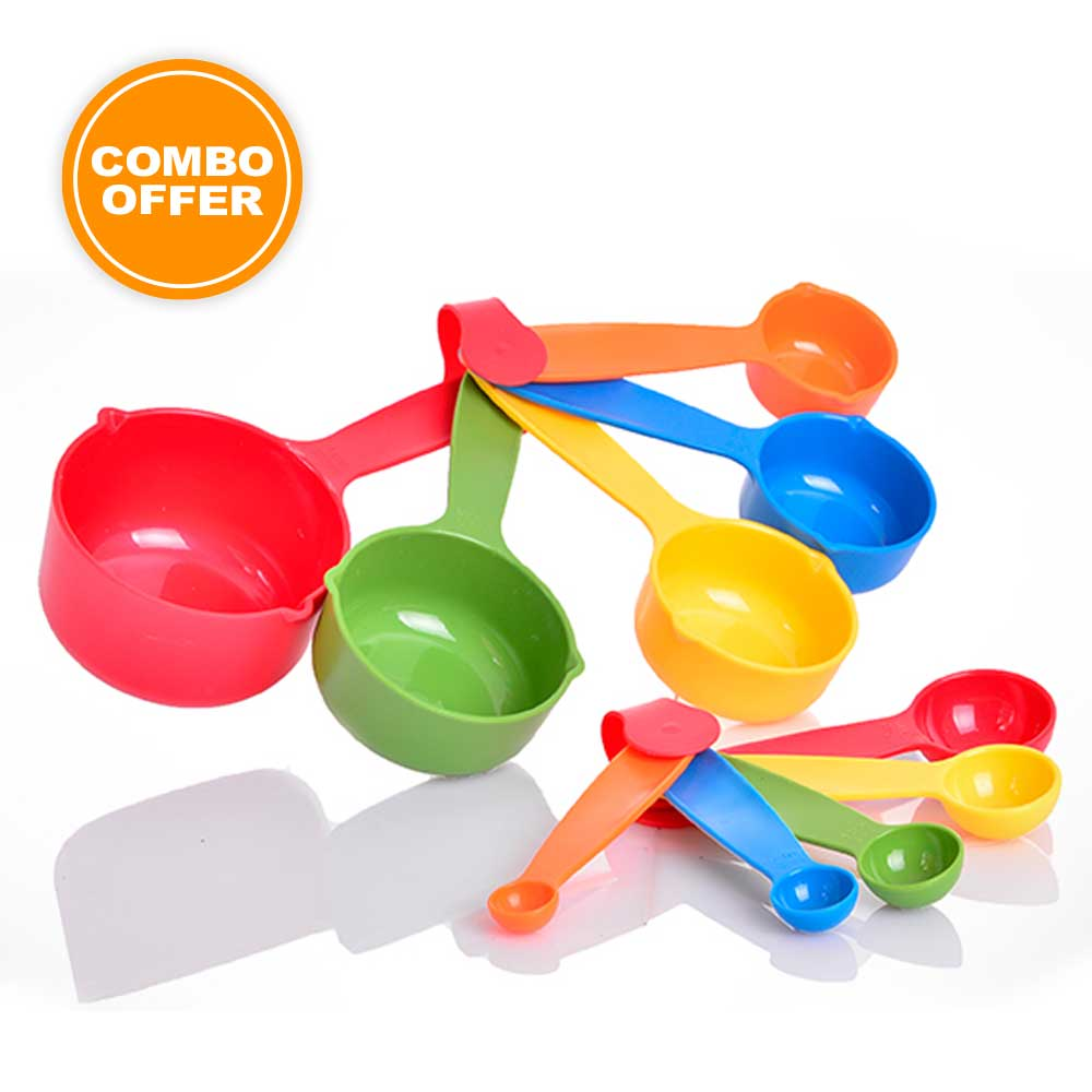 Multicolor measuring cups and spoons combo