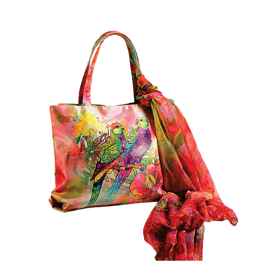 Jungle Parrots Bag with Scarf