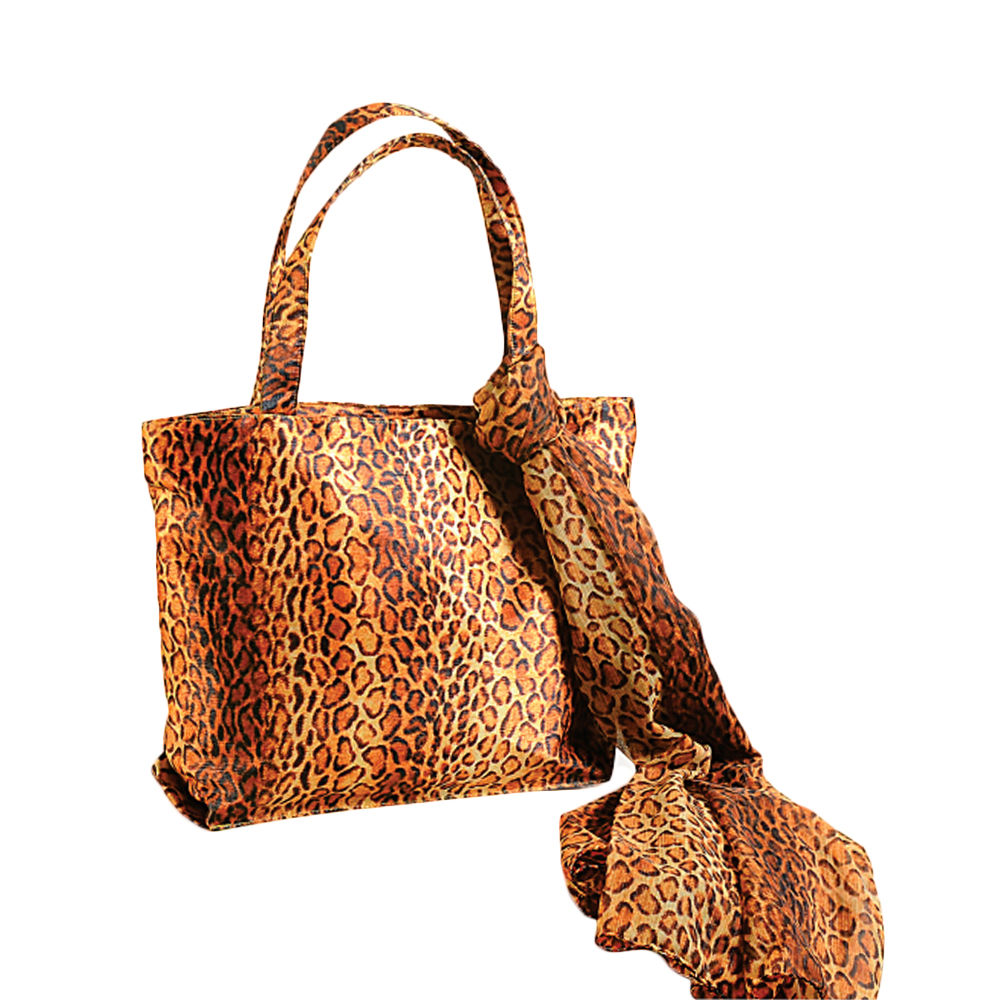 Leopard Skin Bag with Scarf