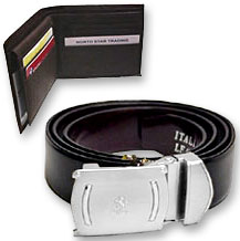 Leatherite Wallet And Belt Set