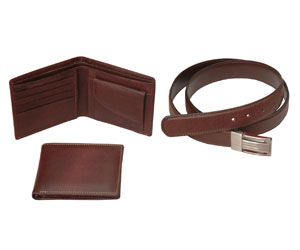 Fine Milled Wallet & Belt Set for Men