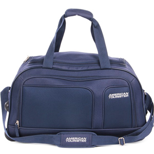 Duffle Bags-American Tourister Aegis Core Blue 2 Wheel Duffle Trolley