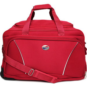 Duffle Bags-American Tourister Vision Red Duffle Trolley Bag