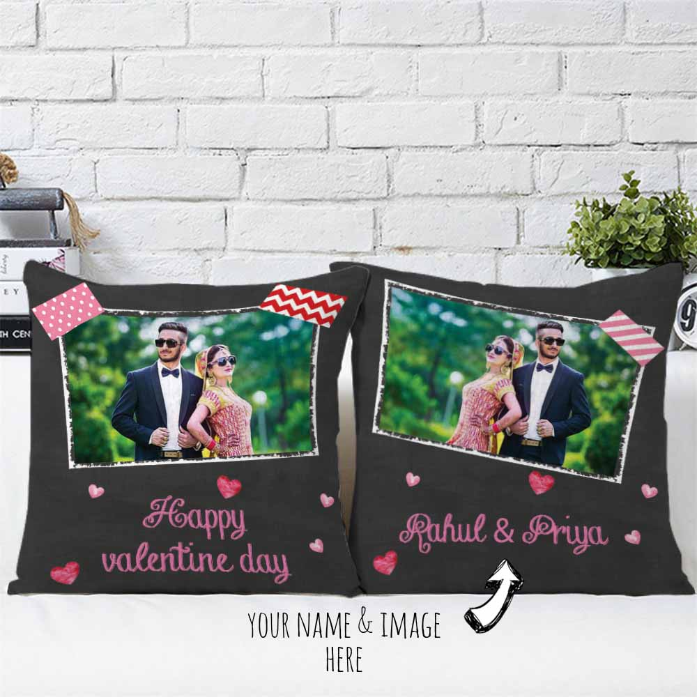 Happy Valentine Personalized Cushions Pair
