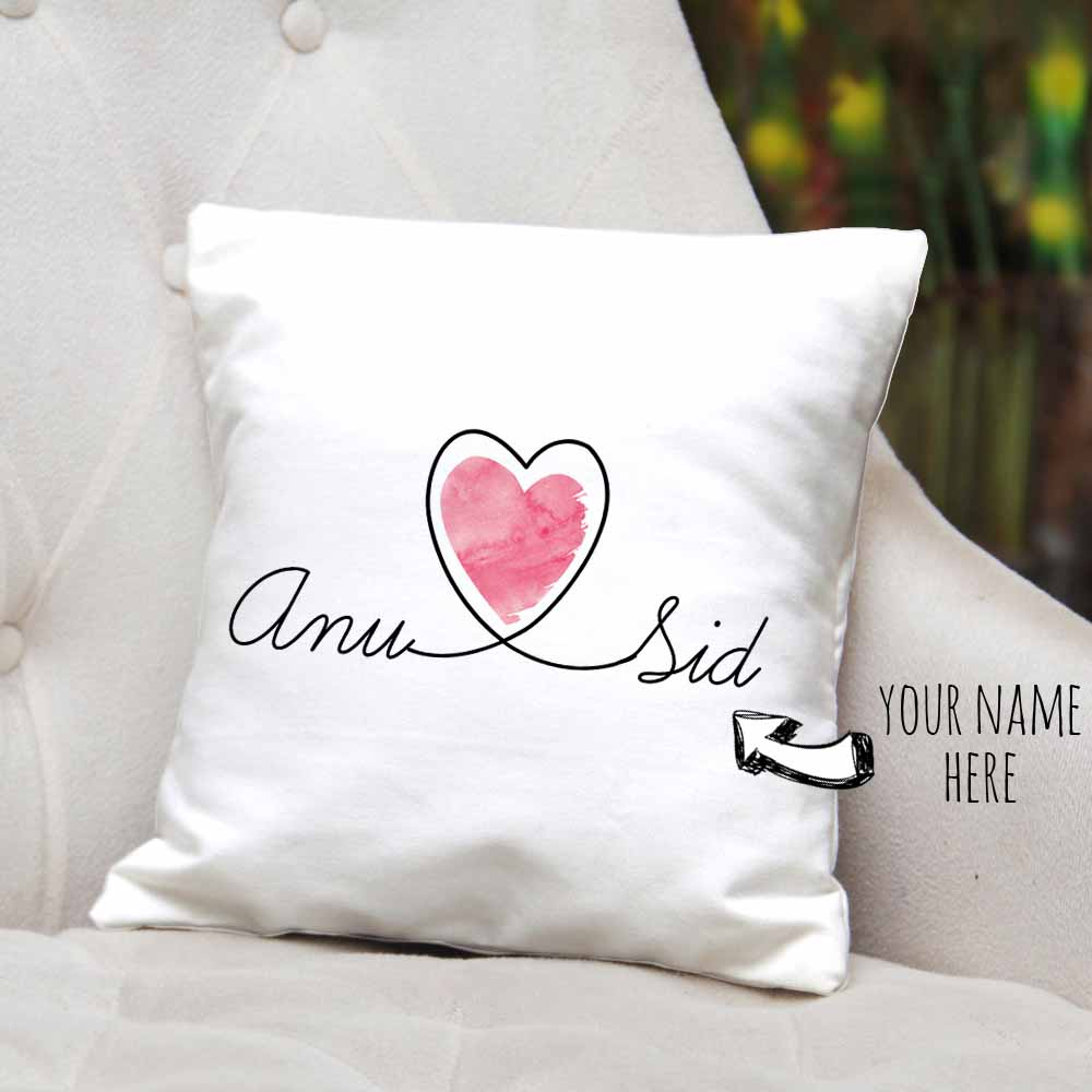 Heart Connected Names Personalized Cushion