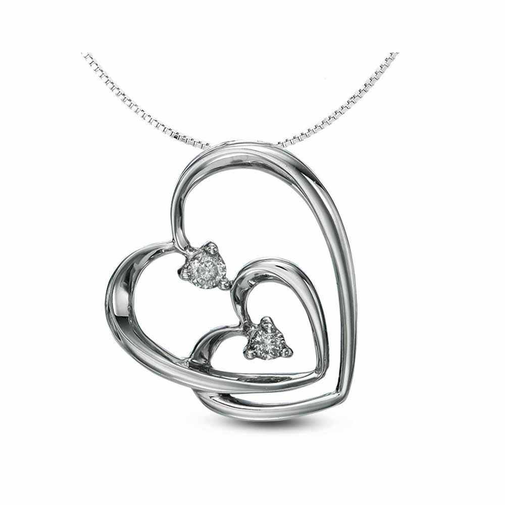 Facetzinspire Diamond Double Heart Pendant