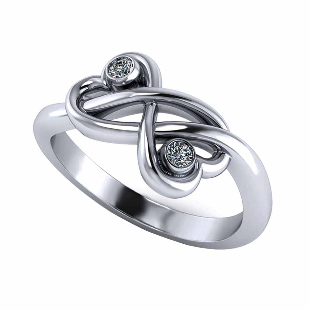 Facetzinspire Diamond Double Heart Ring