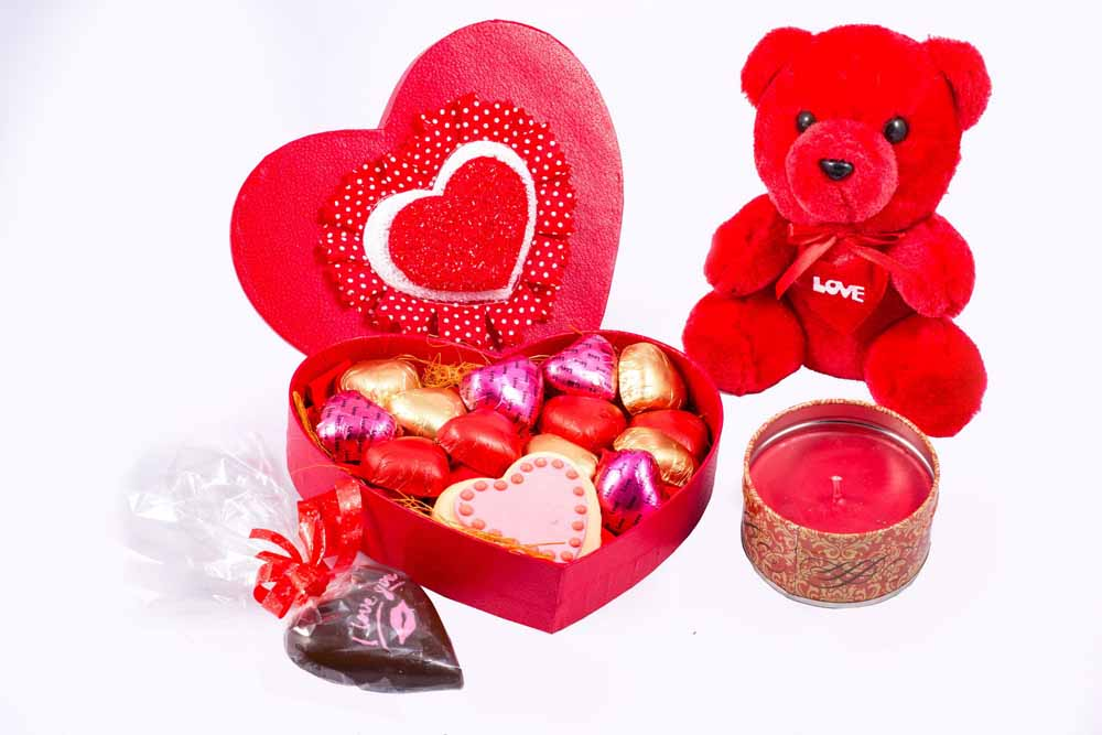 Velvet Fine Chocolate's Heart Box with Teddy and Candle