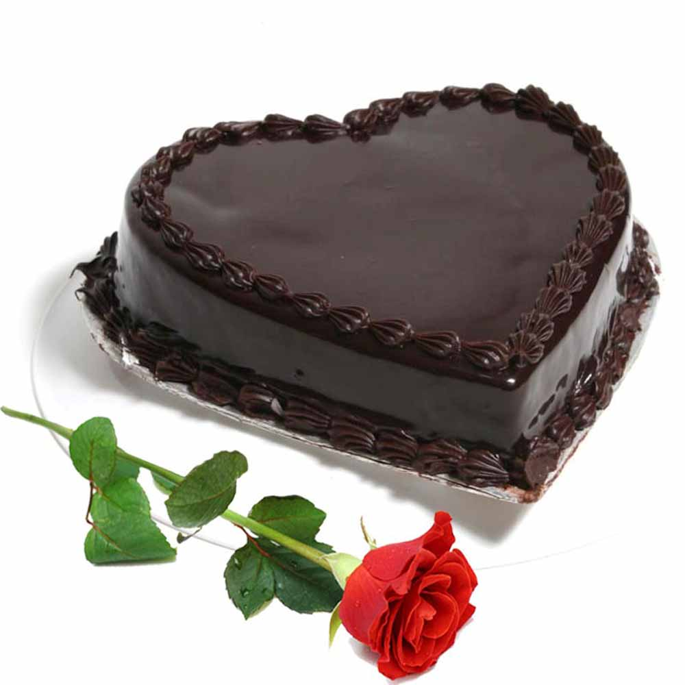 Heart Shape Chocolate Truffle Cake With Single Red Rose India
