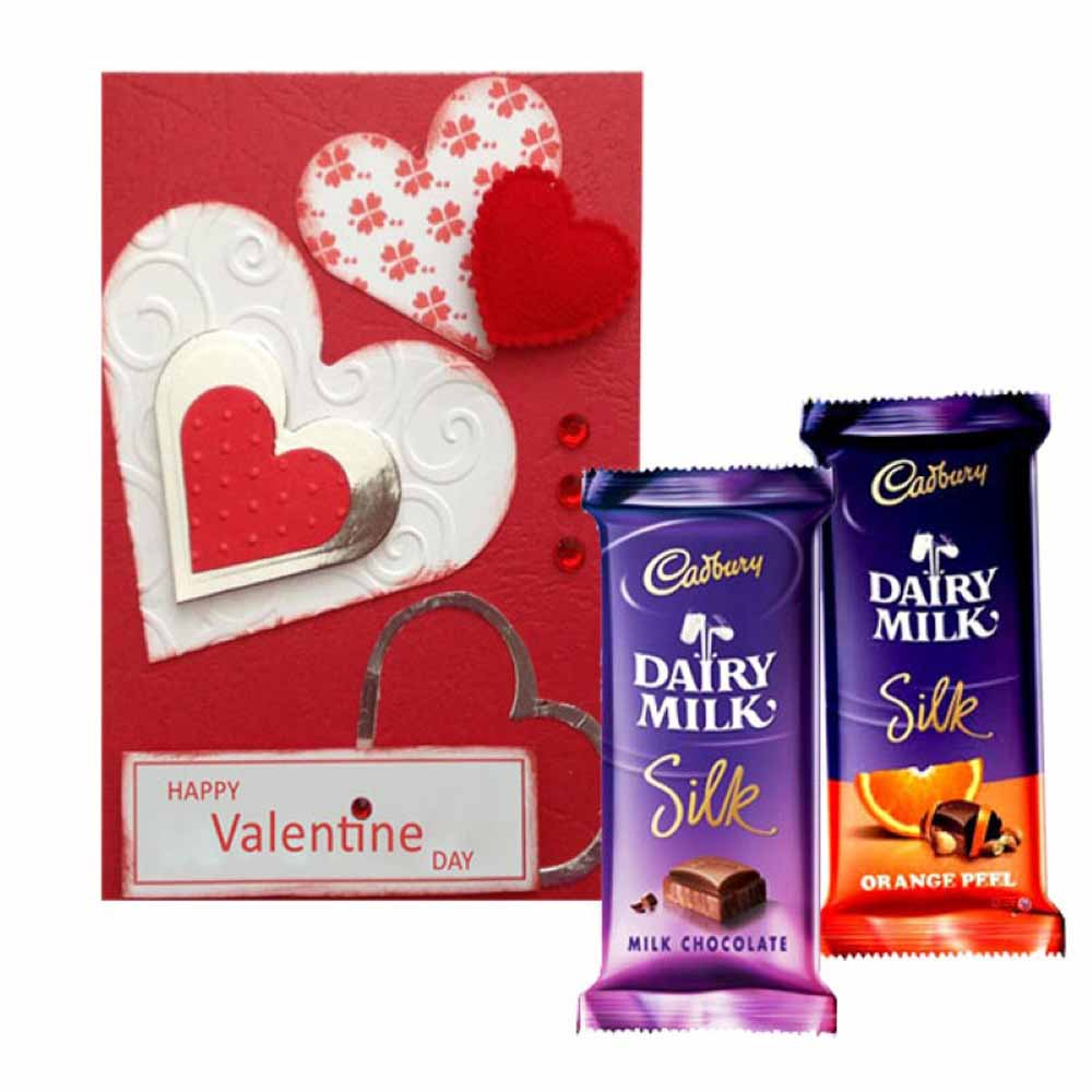 Valentine Flowers-Valentine Greeting Card with Cadbury Silk Chocolate