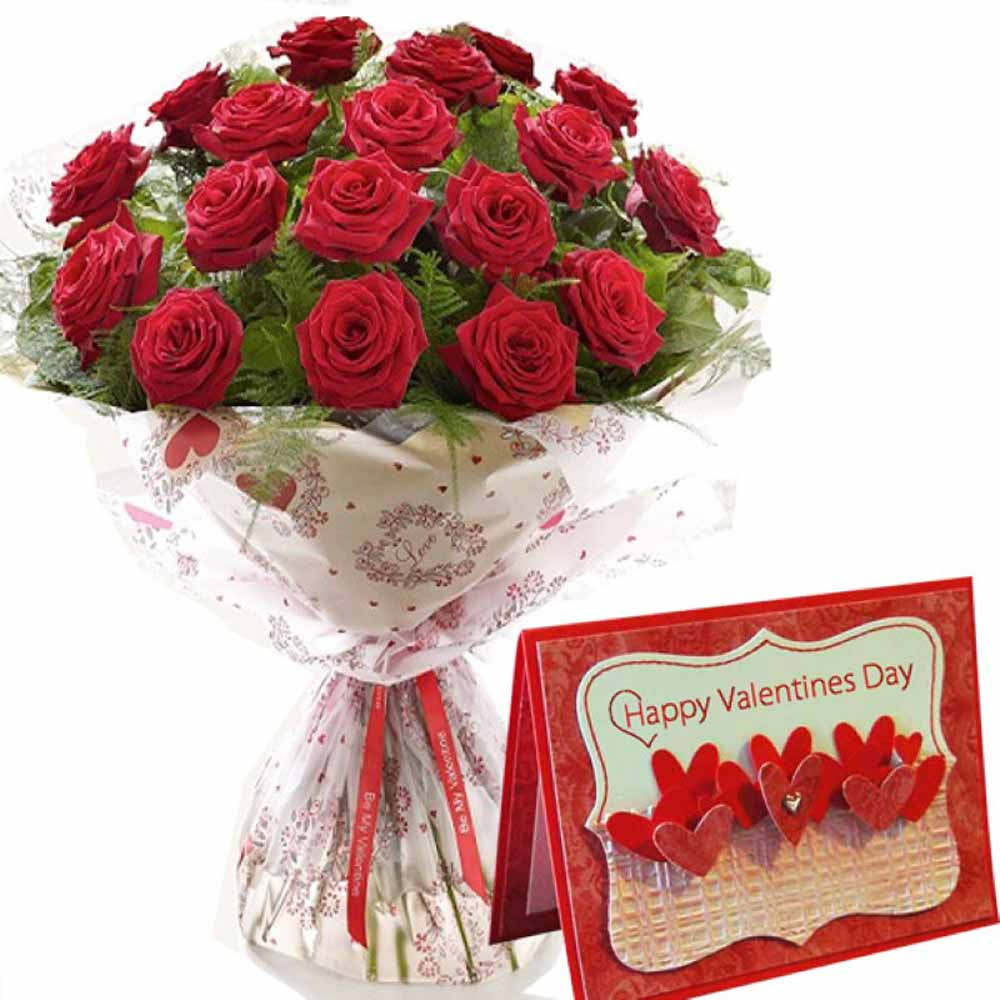 Valentine Greeting Card and Red Roses Bouquet