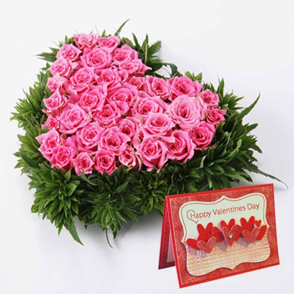 Valentine Flowers-Pink Roses Heart Shape Arrangement with Valentine Card