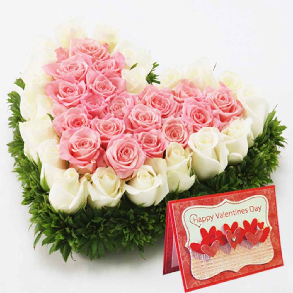 Pink and white roses heart with valentine greeting card india valentine flowers pink and white roses heart with valentine greeting card izmirmasajfo