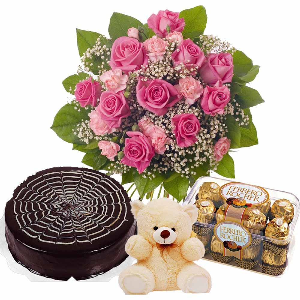 Pink Valentine Flame Hamper Including Chocolate Cake with Teddy and Ferrero Rocher Chocolates Box