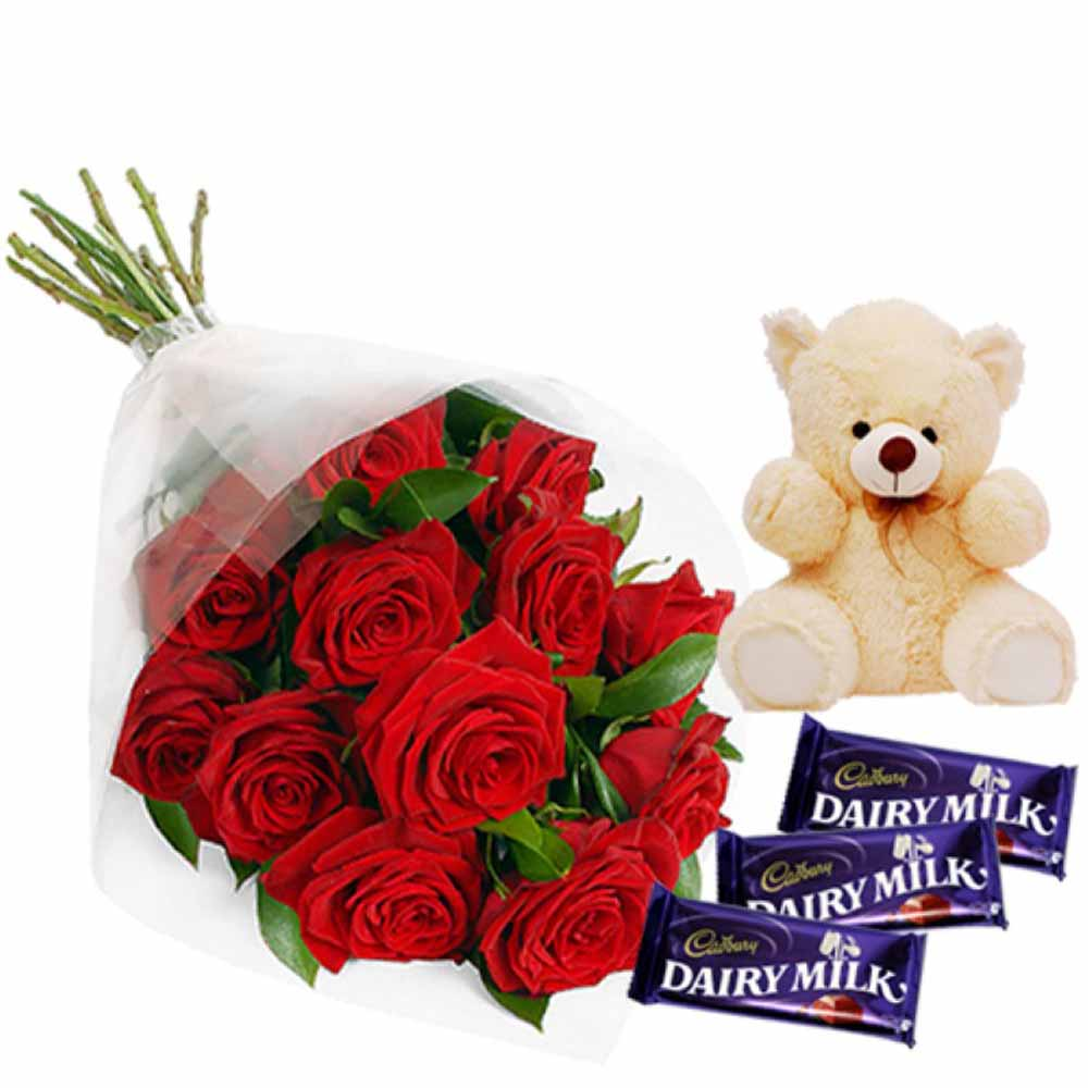 Favorite Valentine Roses Hamper Including Teddy and Dairymilk Chocolates