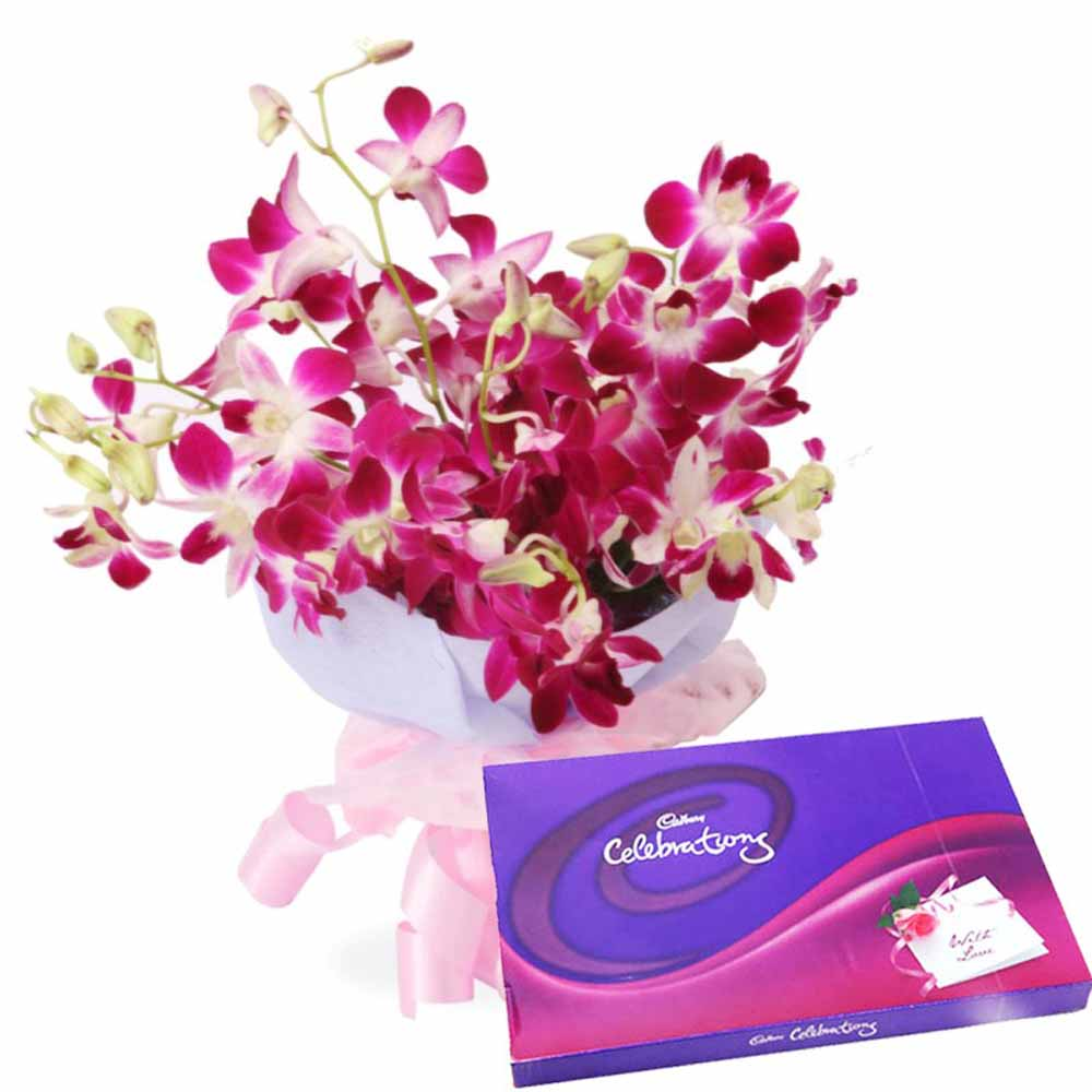 Valentine Flowers-Orchids Charming Beauty with Cadbury Celebrations For Special Ones
