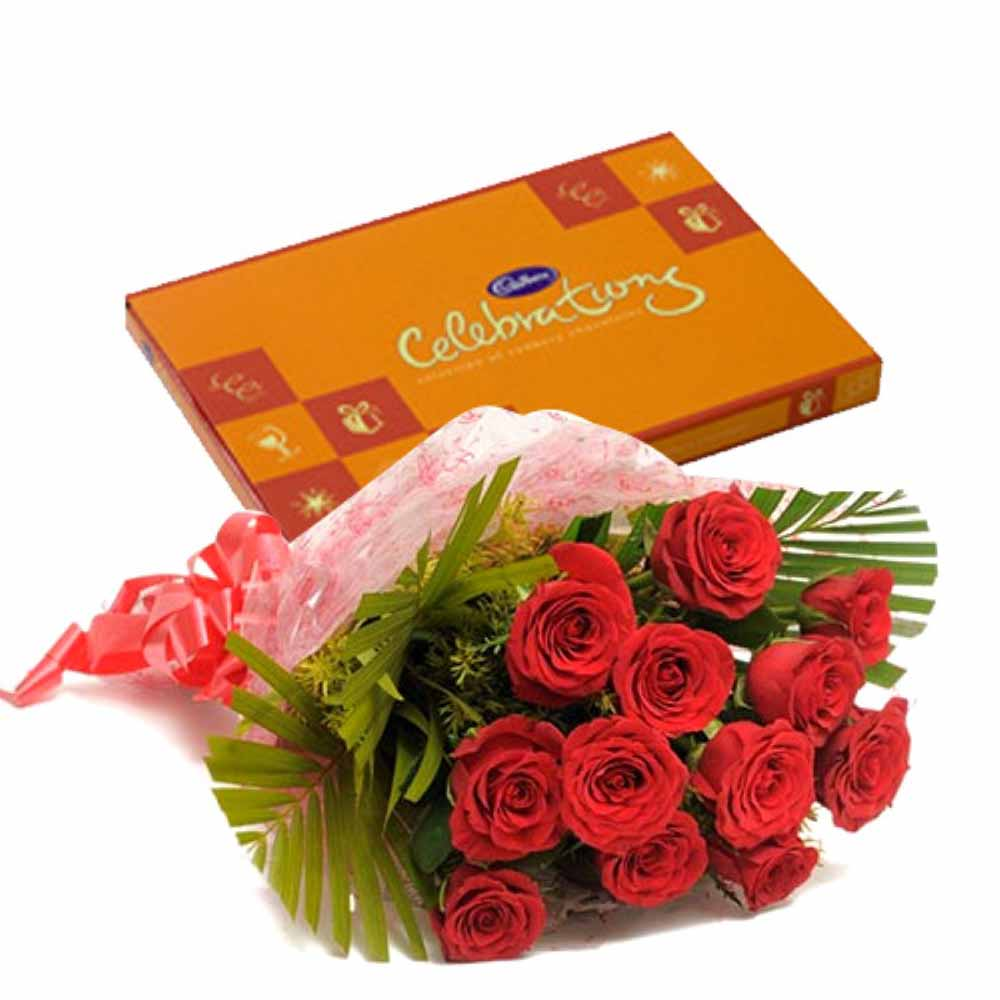 Valentine Flowers-Valentine Celebration Chocolates with Love Token of Twelve Red Roses
