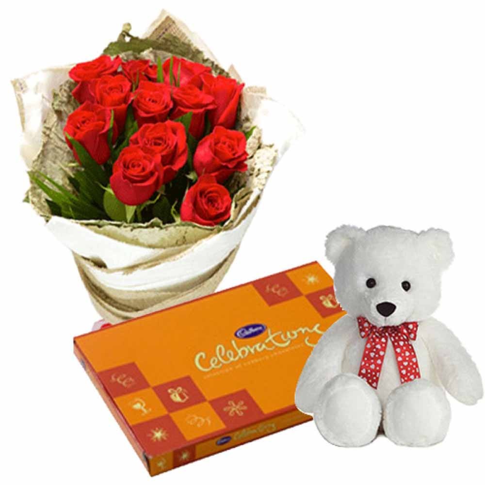 Valentine Flowers-Teddy Bear With Roses Bunch And Celebration