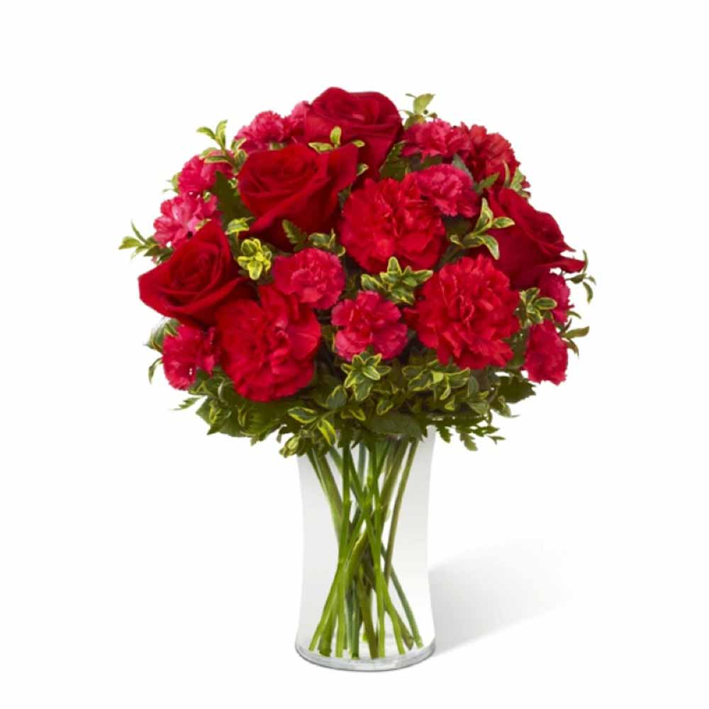 Valentine Flowers-Red Carnations in a Glass Vase for Valentine